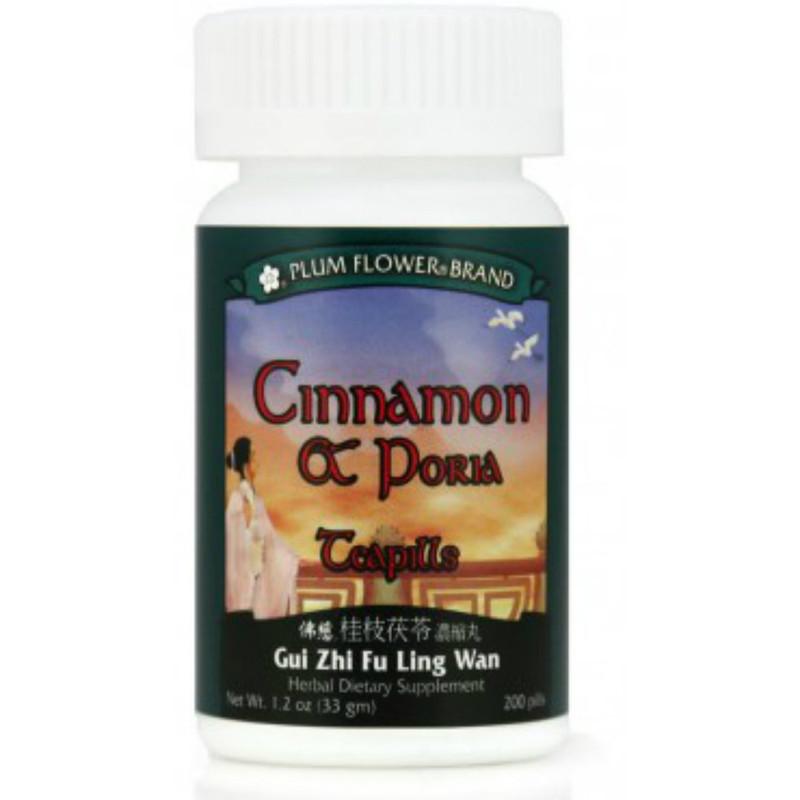 Cinnamon & Poria Teapills (Gui Zhi Fu Ling Wan) - 200 Pills/Bottle - Plum Flower Brand