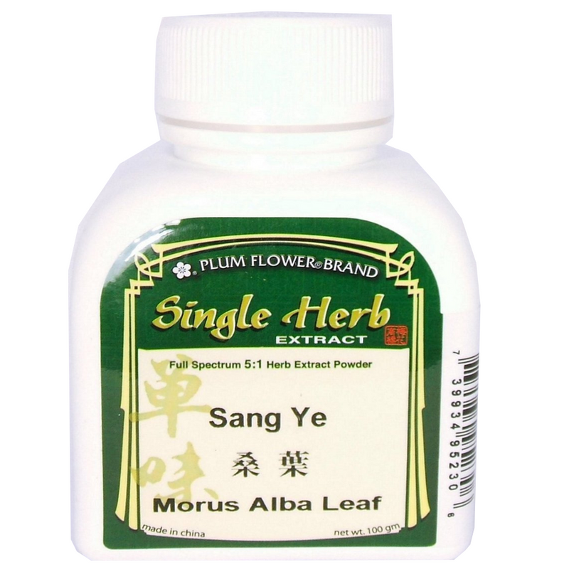 White Mulberry Leaf (Sang Ye) Plum Flower brand, 5:1 Concentrated Powder, 100 gram bottle