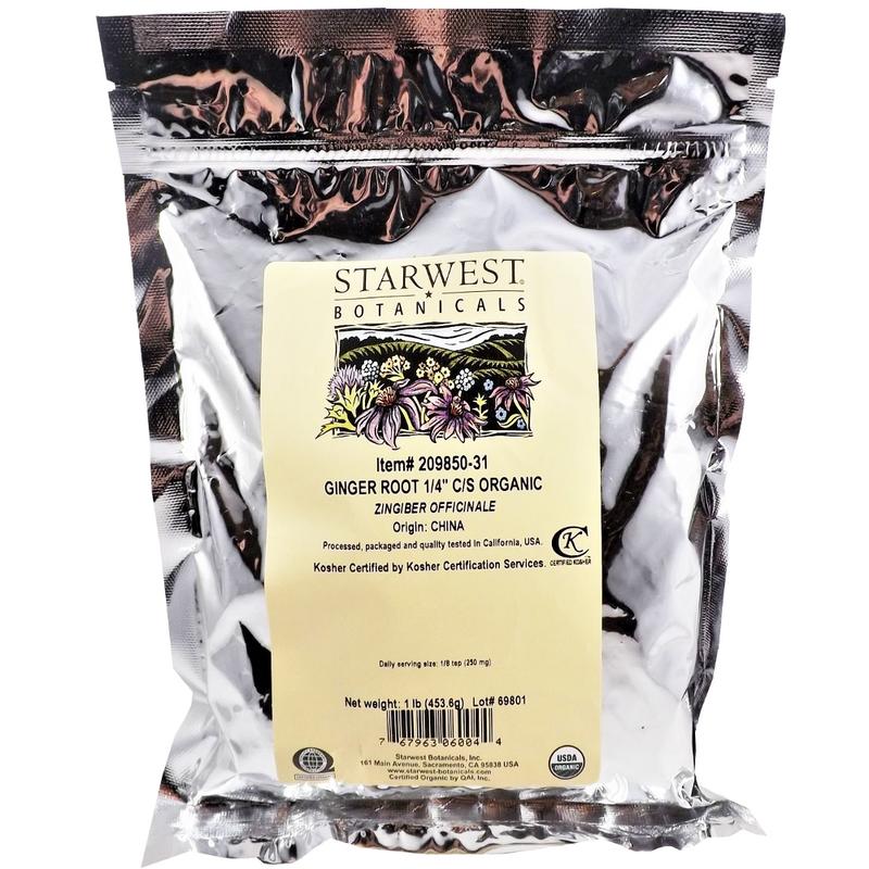 "Ginger Root 1/4"" Cut, Dried,Organic - Gan Jiang - Starwest brand, Cut form 1lb"