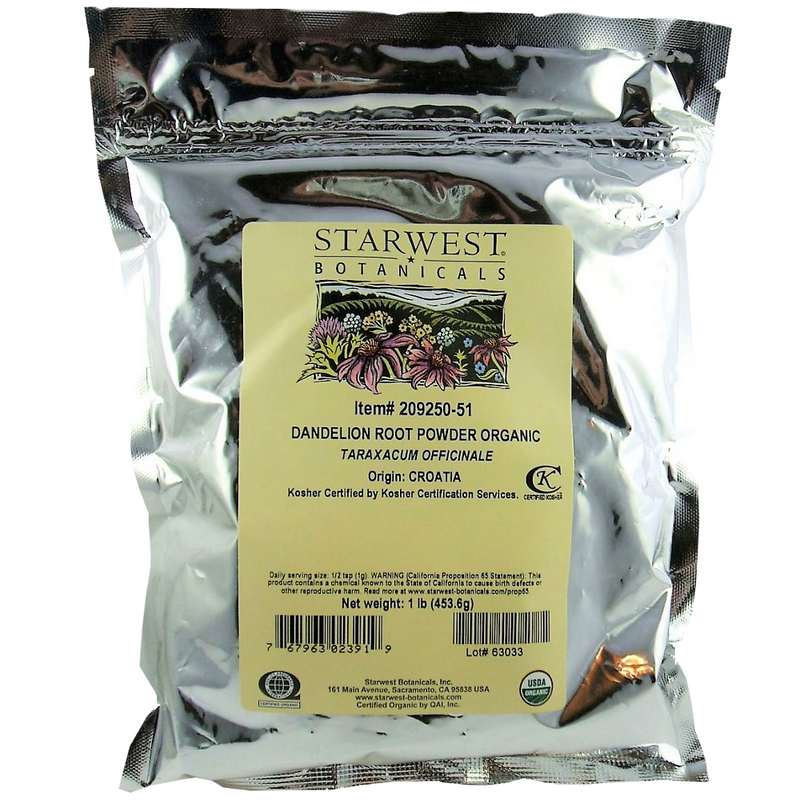 Dandelion Root Certified Organic Starwest Powder 1lb