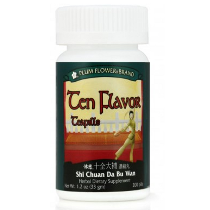 Ten Flavor Teapills (Shi Chuan Da Bu Wan) - 200 Pills/Bottle - Plum Flower Brand