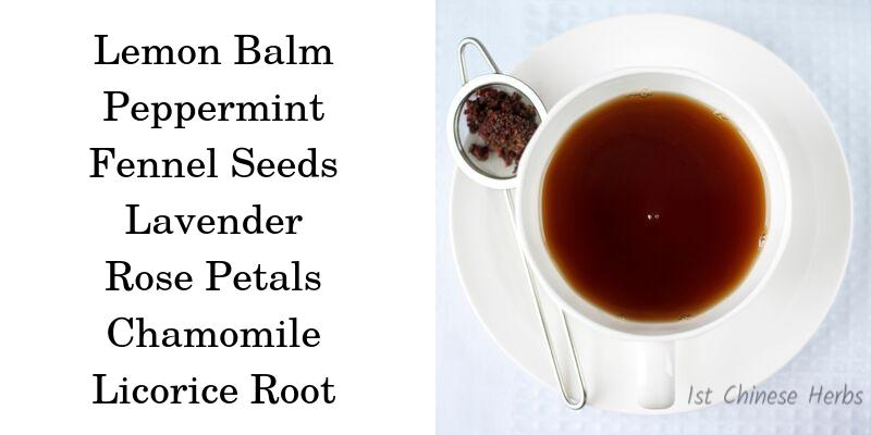 Ingredients for Bedtime Tea.  Lemon balm, Lavender, Peppermint, Rose Petals, Chamomile, Fennel Seeds, Licorice Root. Sleepytime tea recipe, sleepy time tea recipe, herbs for sleep, tea recipe for sleep