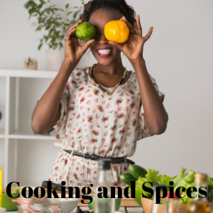 Pictured is a woman cooking playfully and using plenty of fresh healthy vegetables also with herbal spices, herbal ingredients, herbal recipes, and natural spices