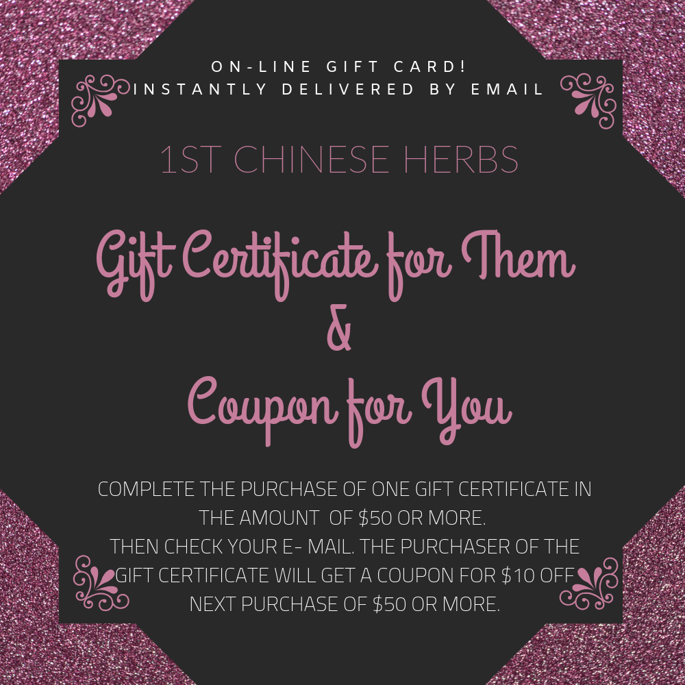 1st Chinese Herbs Gift Certificates