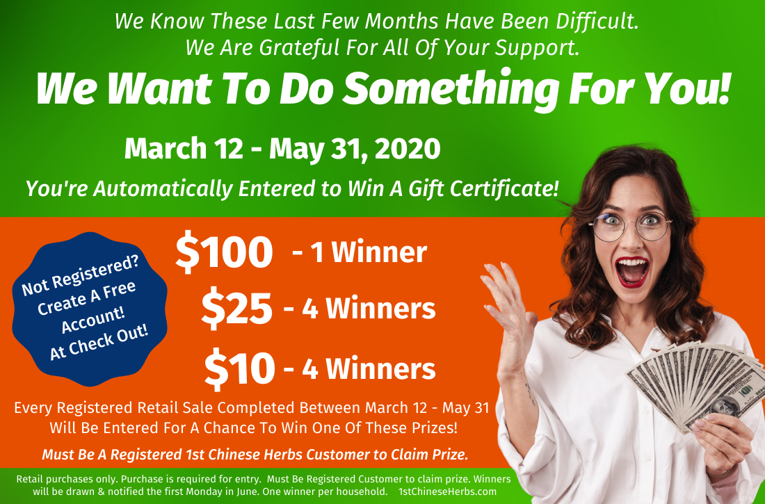 win $100, win $25, Win $10, free money, money giveaway, 1st Chinese Herbs Prizes