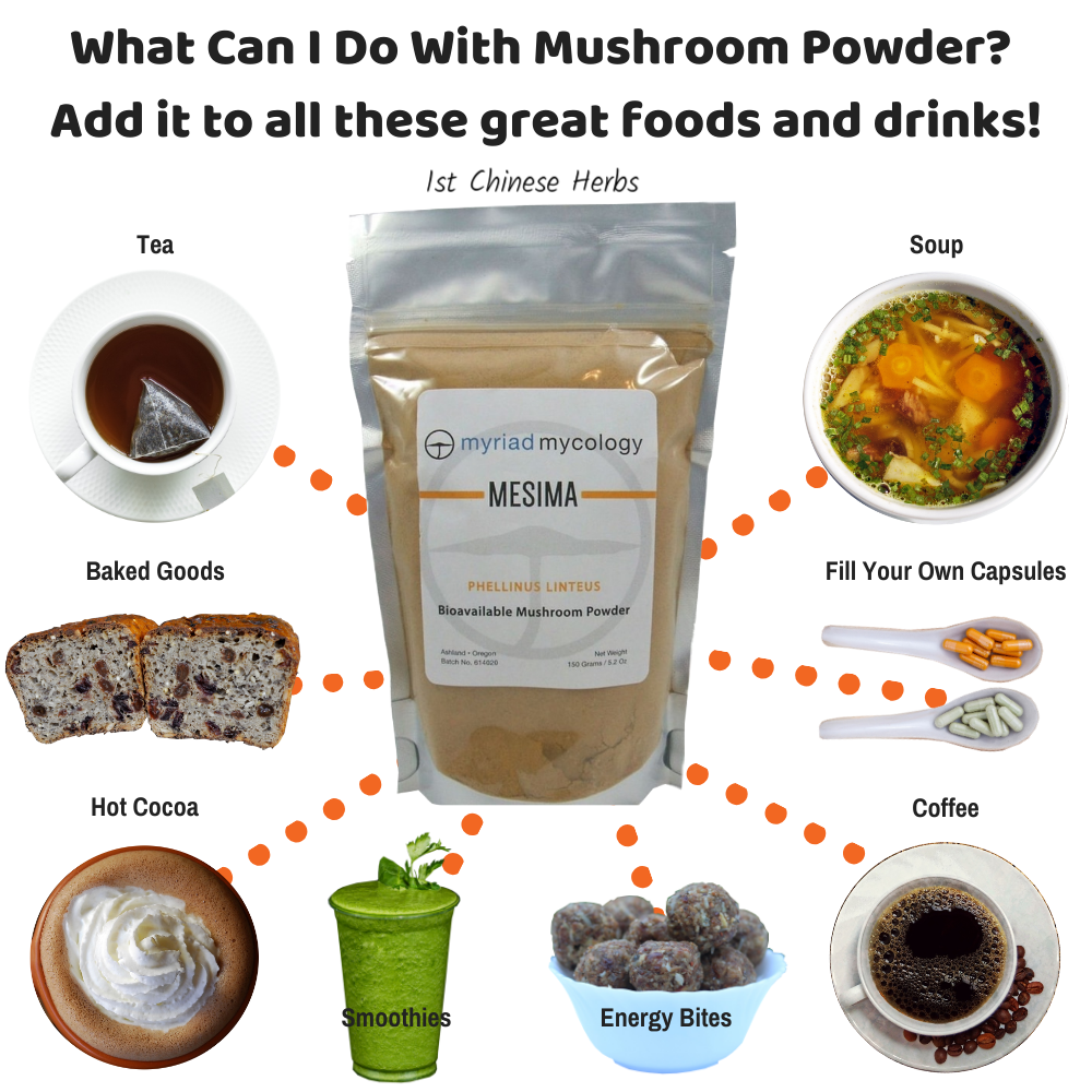 Uses for medicinal mushroom powder.