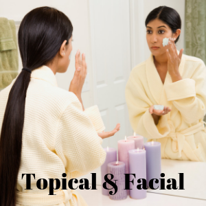 The person pictured is enjoying an herbal facial which you can homemake. Herbal facials and other topical herbs are good for the skin and can benefit the skin in many ways. Herb facials and herb topicals can be relaxing and a way to use your organic herbs and natural herbs in a unique way.