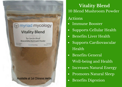 Vitality Mushroom Blend, vitality mushroom, mushroom blend, myriad mycology, mushrooms, traditional bulk herbs, bulk tea, bulk herbs, teas, medicinal bulk herbs
