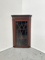 English mahogany satinwood inlaid corner cabinet
