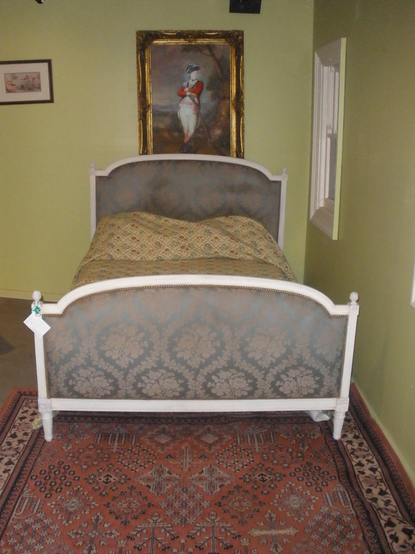 French Painted Upholstered Double Antique Bed
