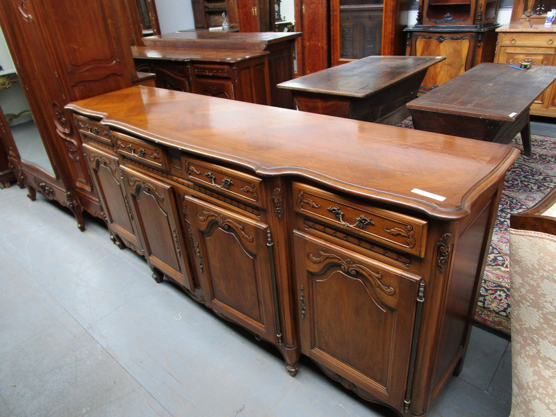 A long four door parquetry top French unrestored sideboard base