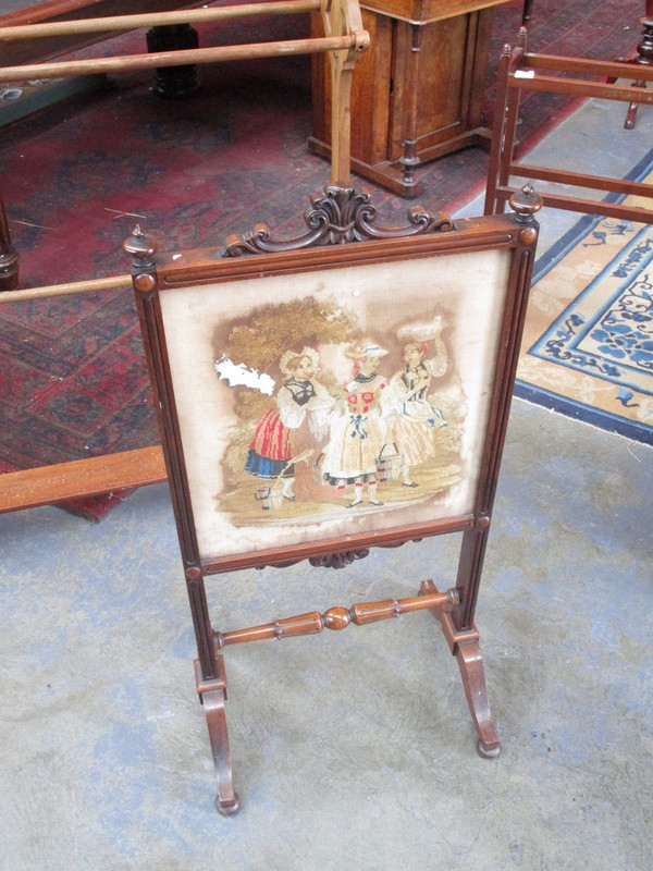 Rosewood small fire screen with tapestry