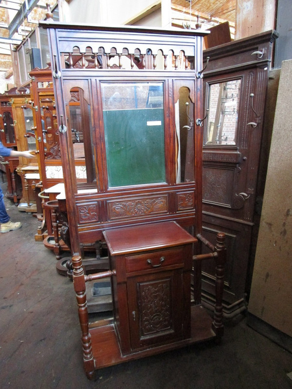 Mahogany unrestored hallstand with drawer & cupboard