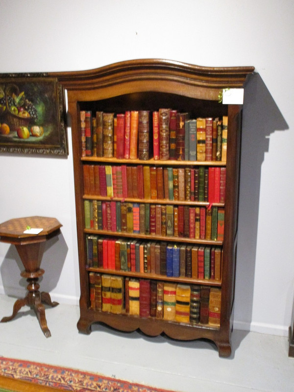 French dark oak open bookcase