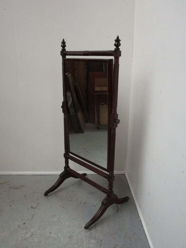 Regency mahogany antique cheval mirror