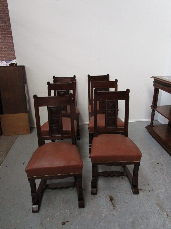 Set of six solid walnut French chairs