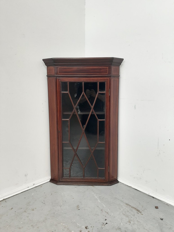 English mahogany satinwood inlaid corner cabinet