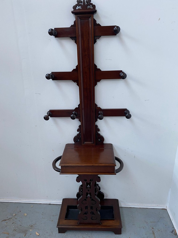 "Scottish mahogany ""hall tree"" hall stand"