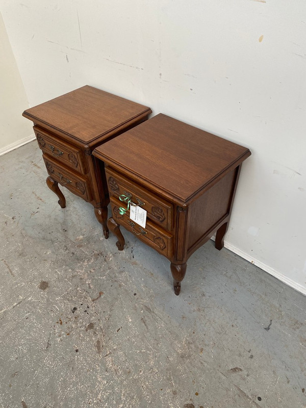 A pair of small French bedside drawers