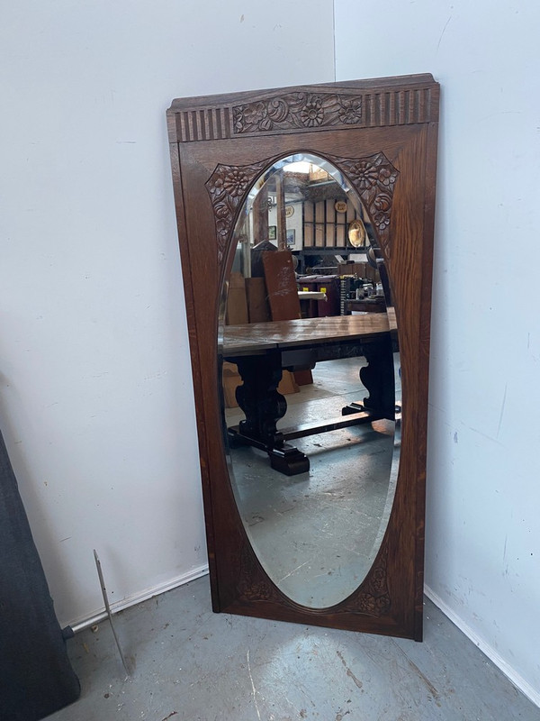 Tall, thin French Oak mirror