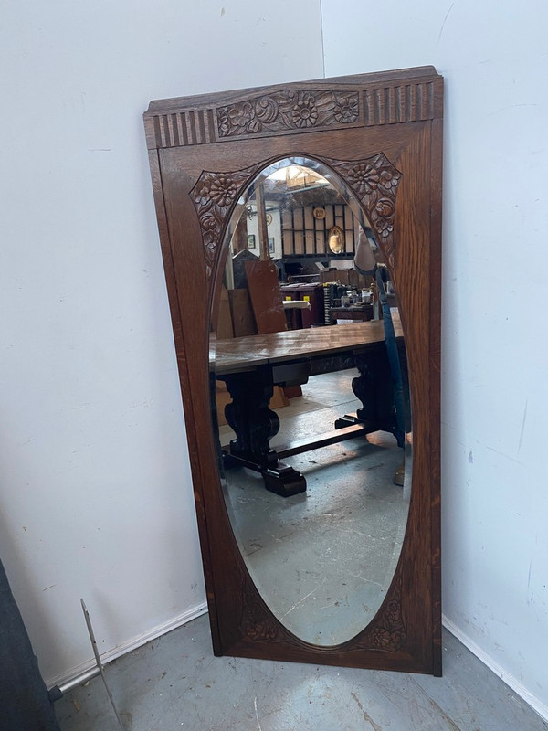 Tall, thin French Oak mirror