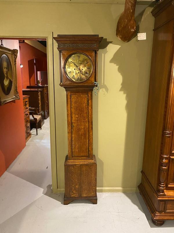 Georgian long case brass dial clock