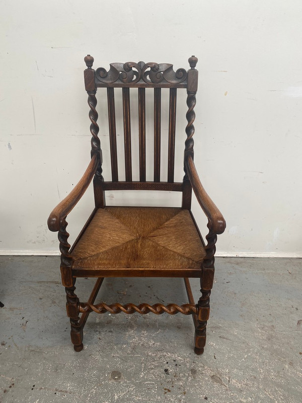 French oak Barley sugar twist rush seated chair