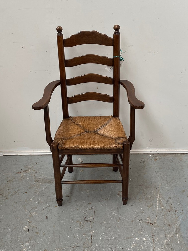 Elegant French oak rush seated chair