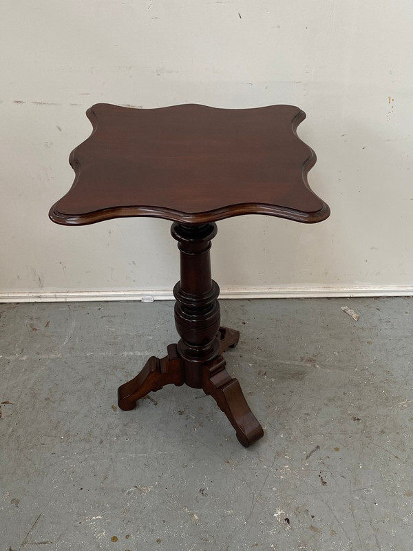 Mahogany serpentine top wine table