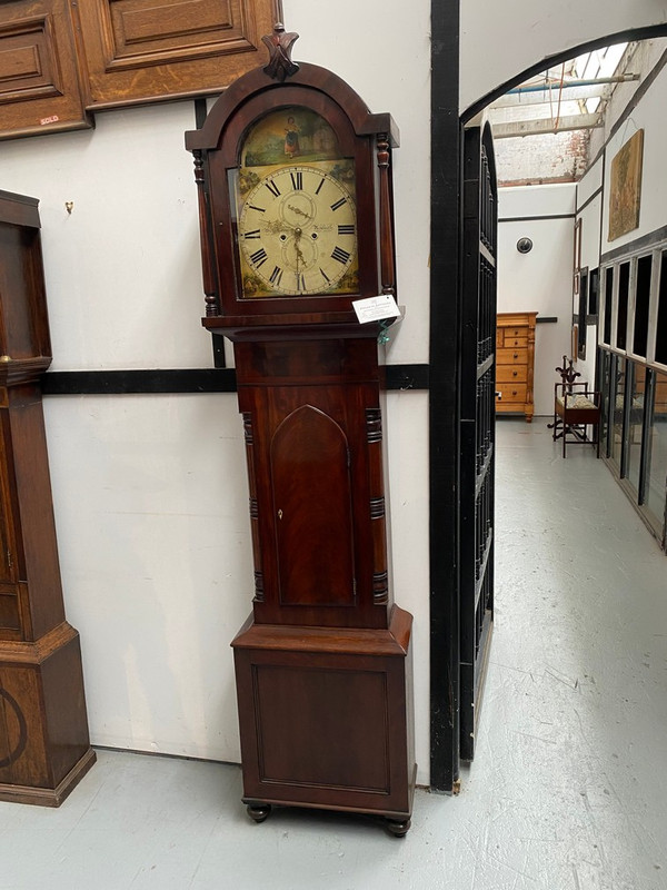 Unrestored Victorian painted face grandfather clock