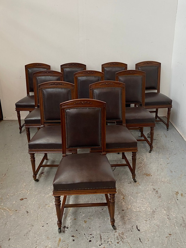 A set of  TEN  French walnut chairs