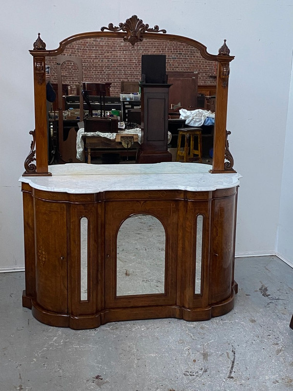 Marble topped burr-walnut mirror backed credenza
