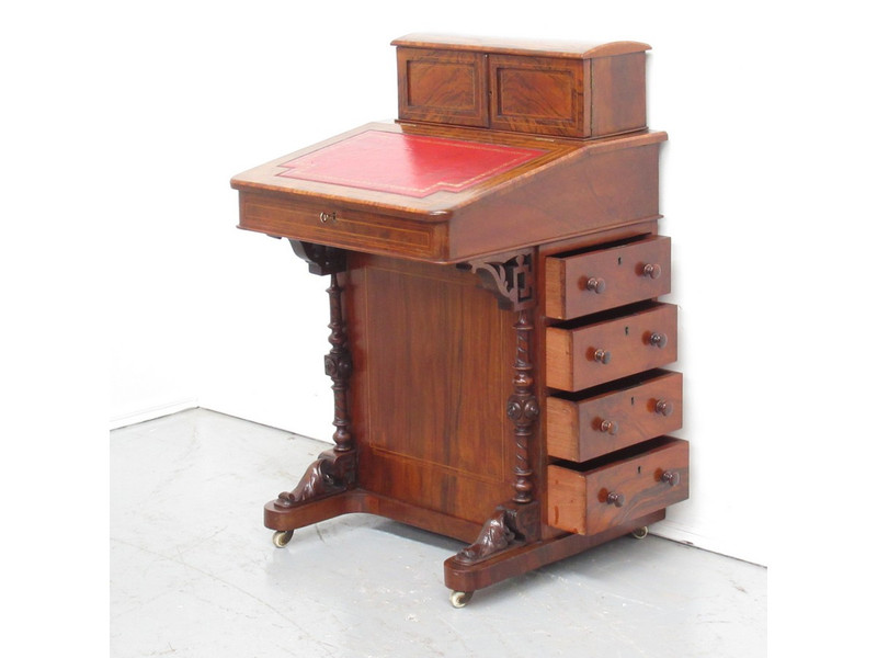 Superb colour burr-walnut davenport desk