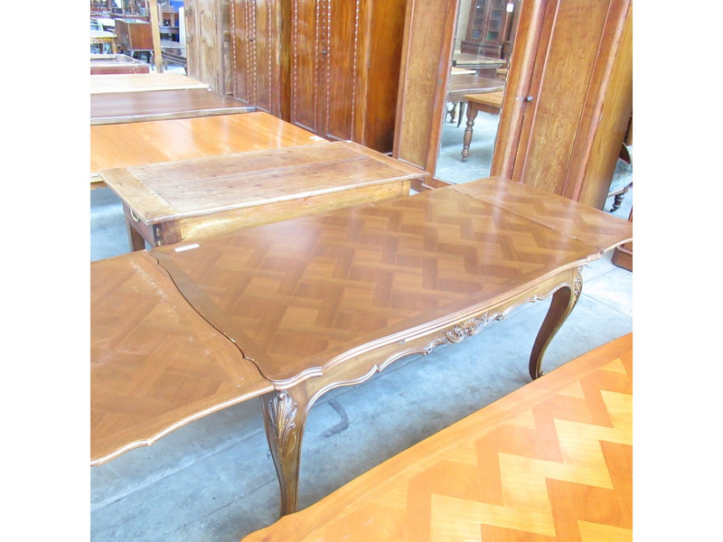 Unrestored French extension table with parquetry top