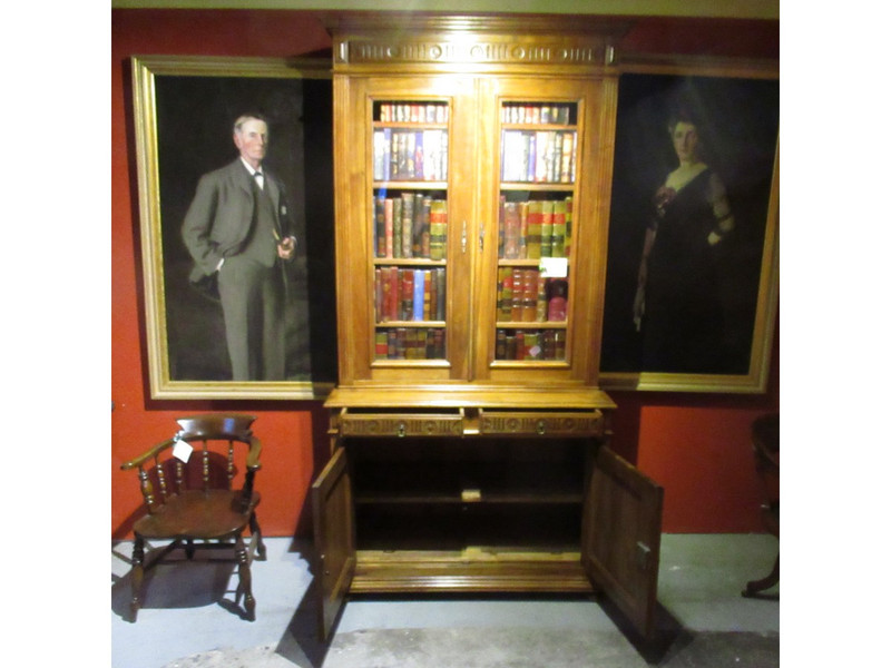 A striking very tall French two door bookcase