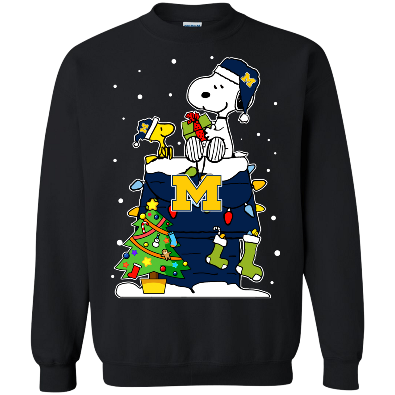 27a25ac48b1a6 Michigan Wolverines Ugly Christmas Sweaters Snoopy Woodstock s Sweatshirts