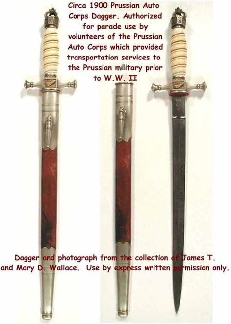 1900 ca. Prussia Auto Corps Dagger#129