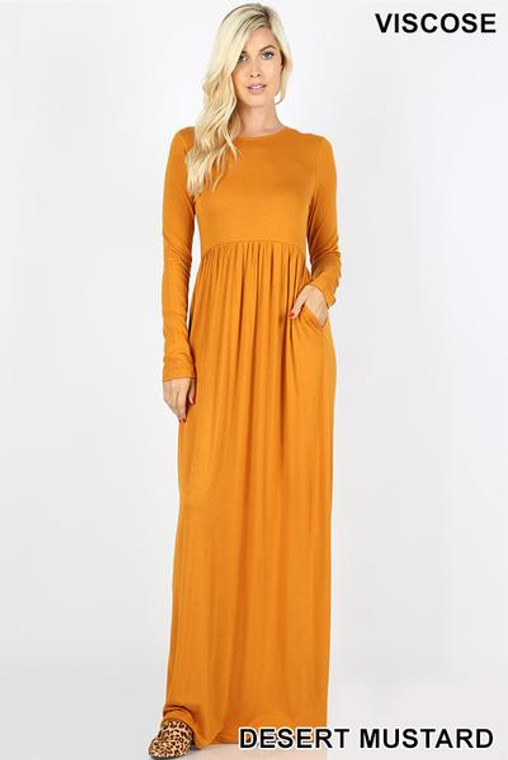Long Sleeve Side Pockets- Maxi Dress