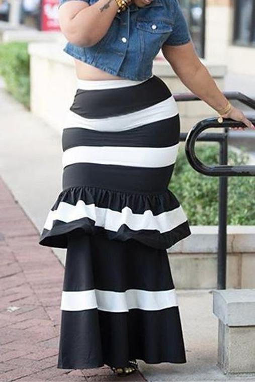 Bawdy- Striped Ruffle Peplum Maxi Skirt
