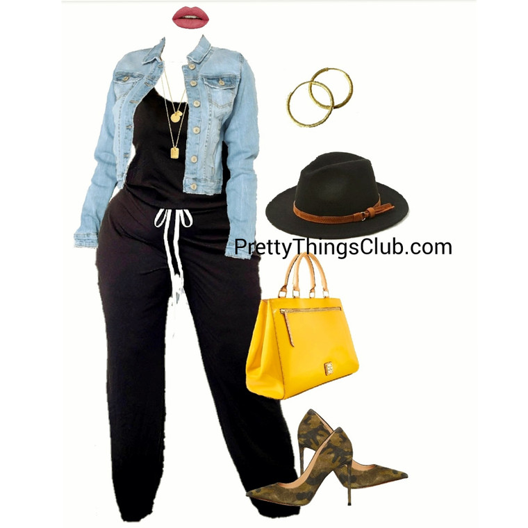 R&B- Jumpsuit with elastic tie at waist