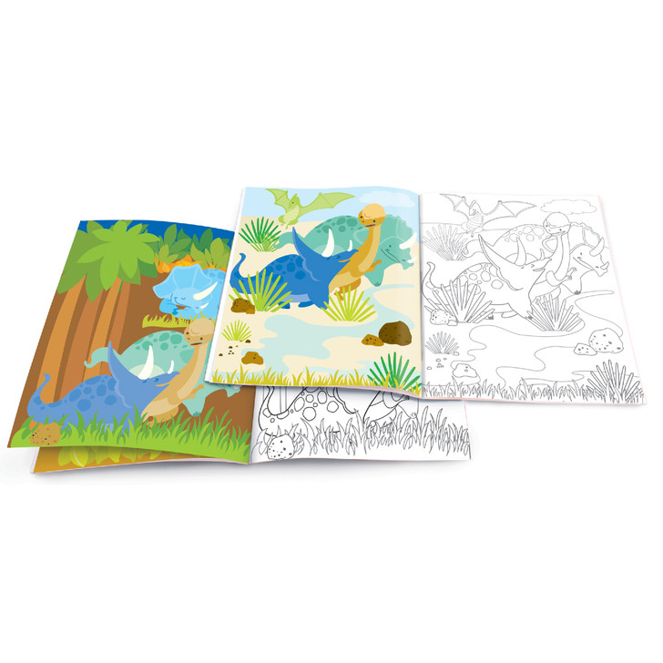 Dry Erase Coloring Book with Reusable Stickers- Dinosaur World
