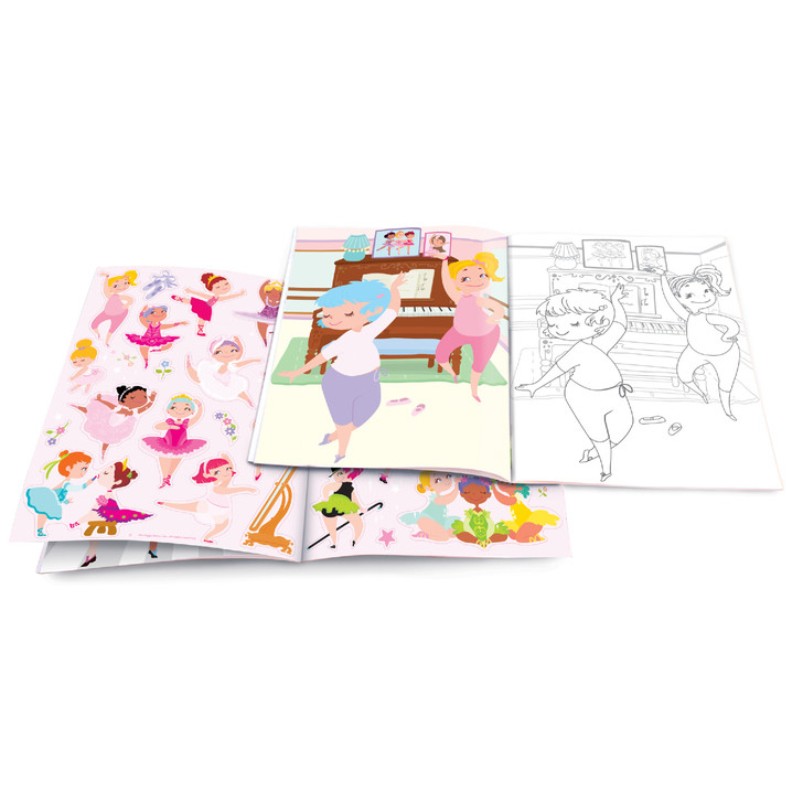 Dry Erase Coloring Book with Resuable Stickers- Pretty Ballerina