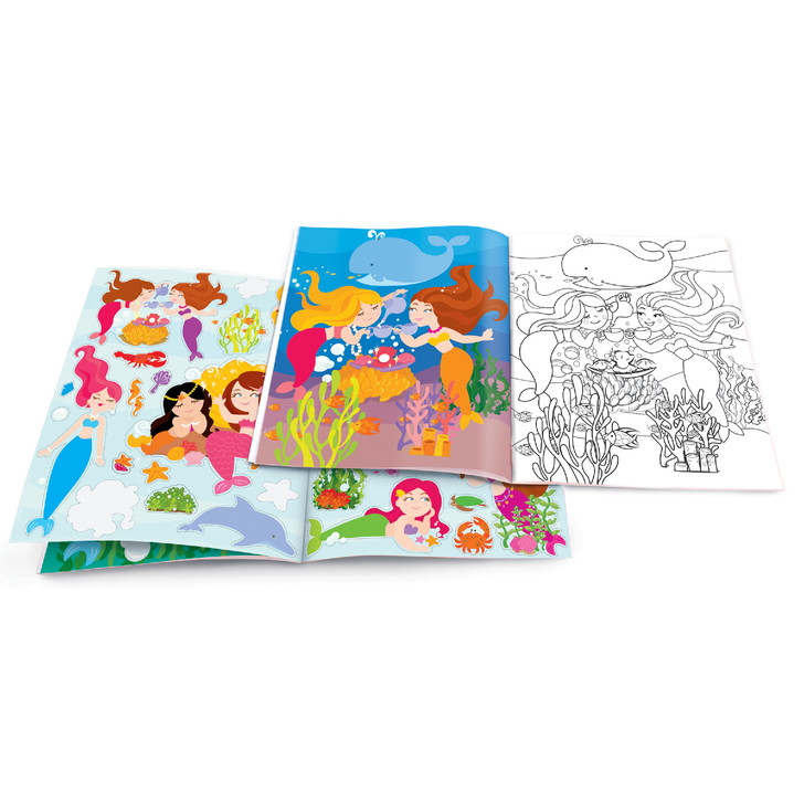 Dry Erase Coloring Book with Reusable Stickers- Magical Mermaids