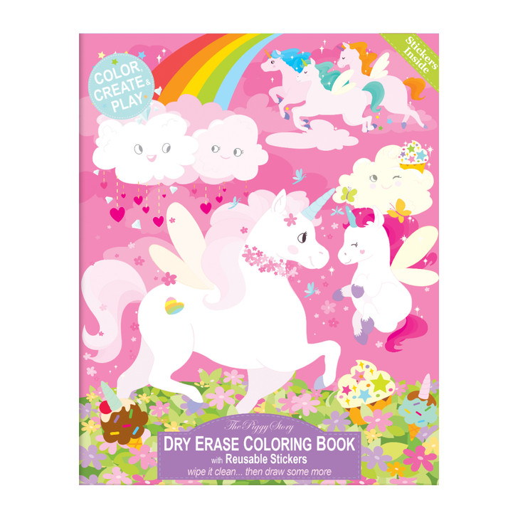 Dry Erase Coloring Book with Reusable Stickers- Unicorn Land