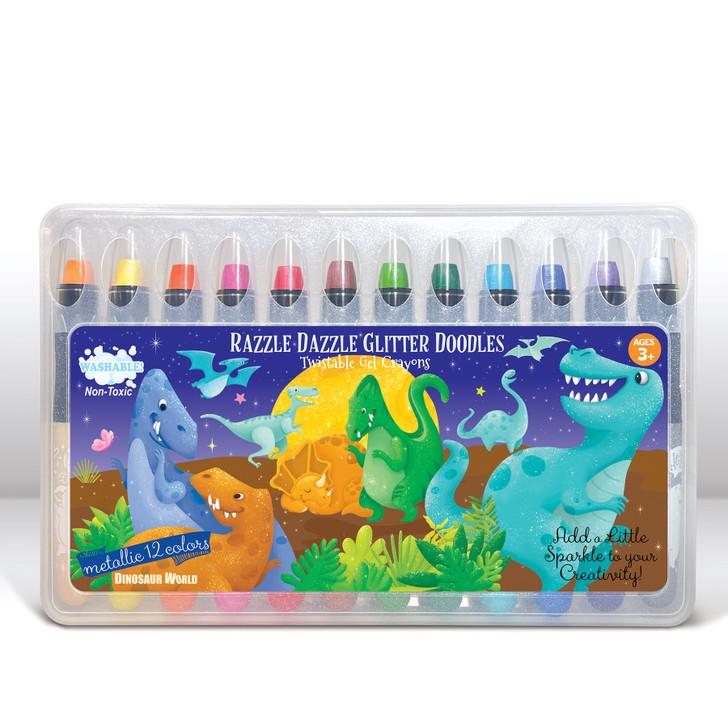Dinosaur World Glitter Doodle Gel Crayons