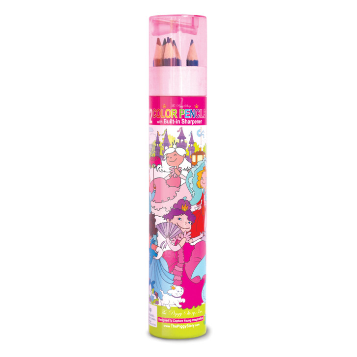Color Pencil Tube with Sharpener-Enchanted Princesses