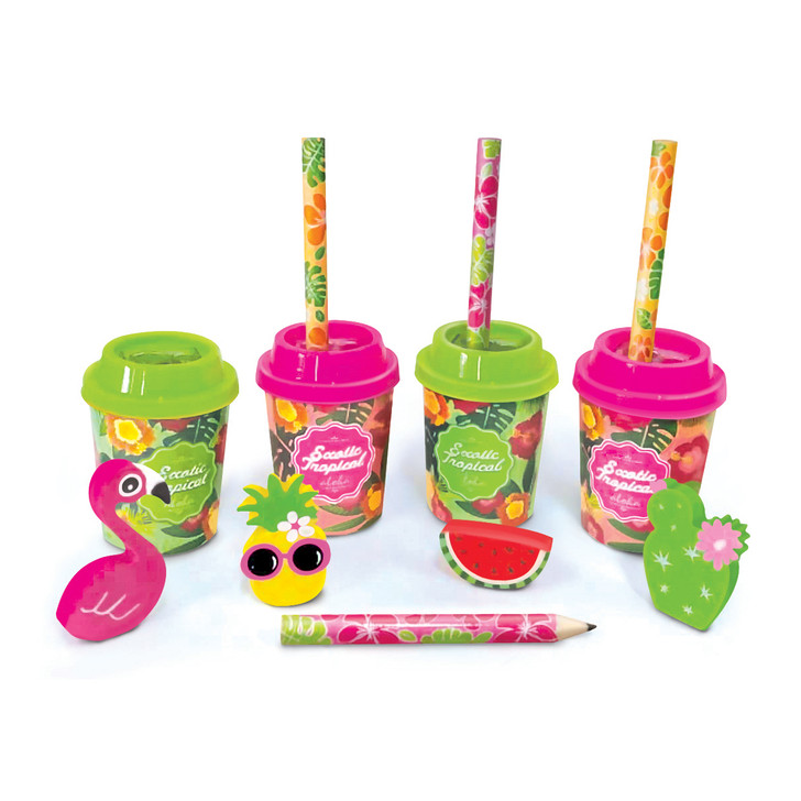 Set of 4 Tropical Pencils, Erasers and Sharpeners