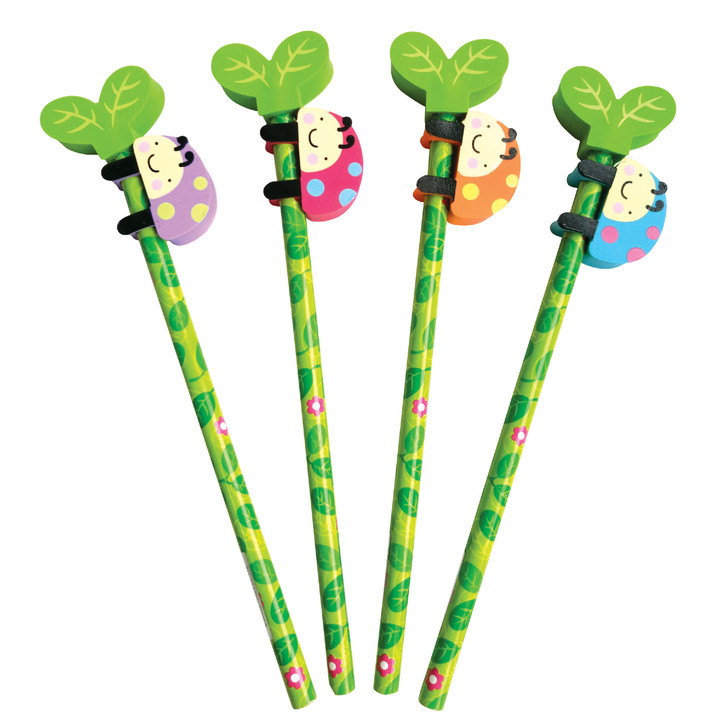 Set of 4 pencils with Ladybug Eraser Toppers