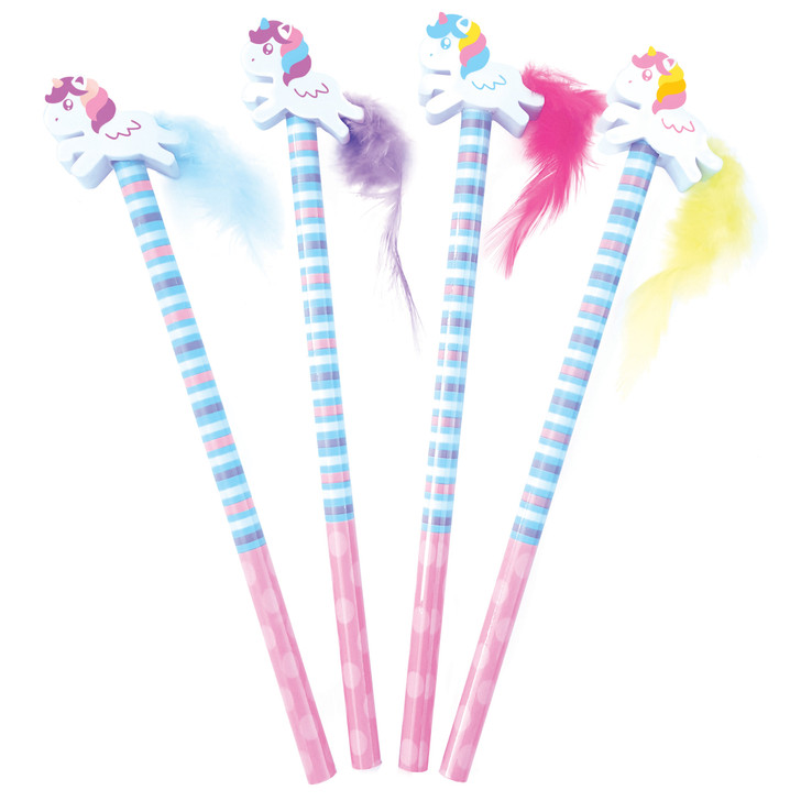 Set of 4 Pencils with Unicorn Eraser Toppers