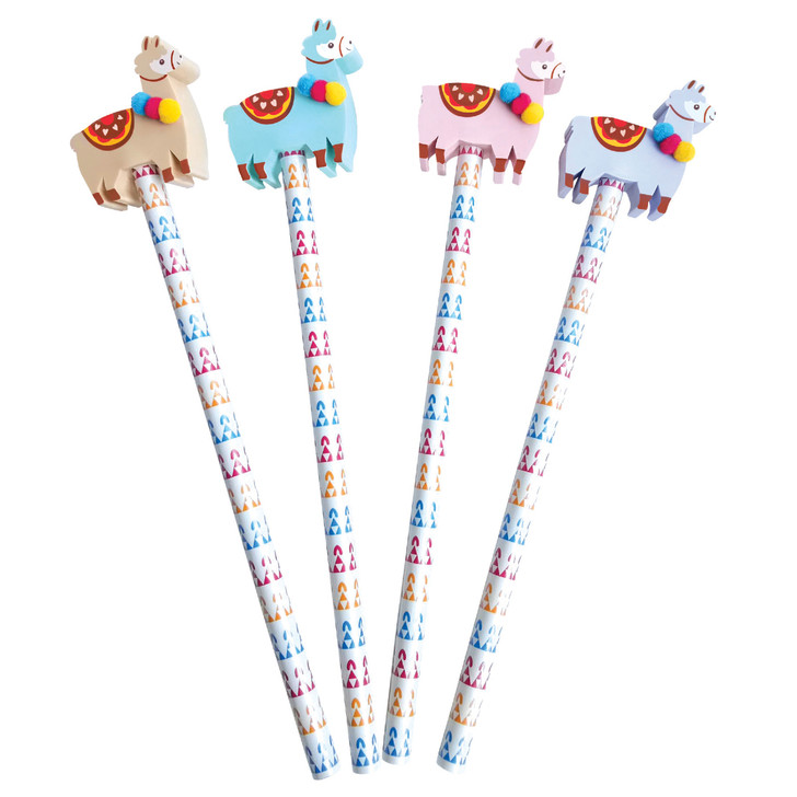 Set of 4 Llama Pencils with Eraser Toppers